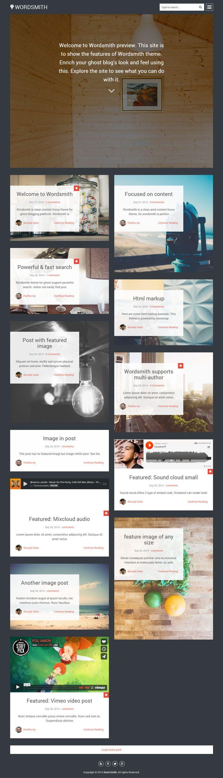 Wordsmith is Premium full Responsive Ghost Blog Theme. Flat Design. Masonry layout. Retina Ready. Bootstrap Framework. http://www.responsivemiracle.com/cms/wordsmith-premium-responsive-masonry-style-ghost-theme/