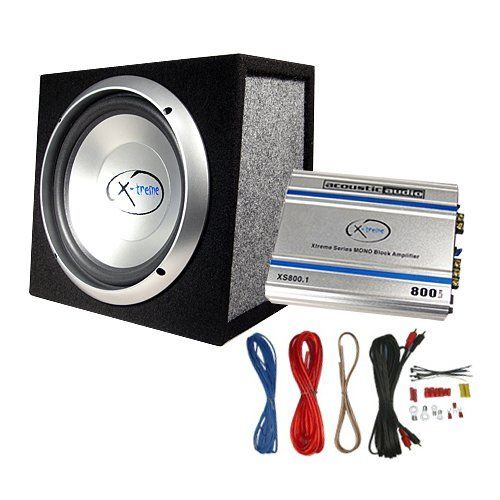 """Acoustic Audio XS10A 500 Watt 10"""" Car Subwoofer Box/Amplifier/Wiring by Acoustic. $99.99. This Acoustic Audio XS10A, 10"""" subwoofer and amplifier combo, retails for $249.99 plus tax. This Acoustic Audio Xtreme Series package includes an 800-watt mono amp, amplifier wiring kit, 500 watt 10"""" sub, and a sealed 10"""" enclosure that all combine for some heavy low-frequency reinforcement in your vehicle. Just add speaker wire, and you've got a complete system that will transf..."""