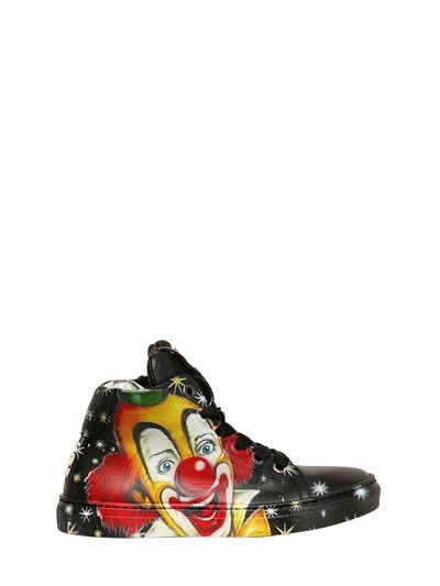 BE KOOL - CLOWN PRINT NAPPA LEATHER SNEAKERS - SNEAKERS - BLACK - LVR.COM