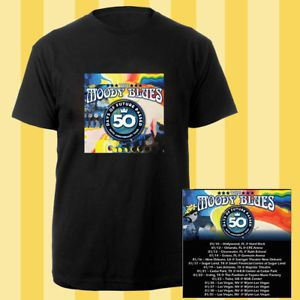 The Moody Blues 50th anniversary tour dates jan 2018 black tees; Material 100% cotton, Basic style; Short sleeve;