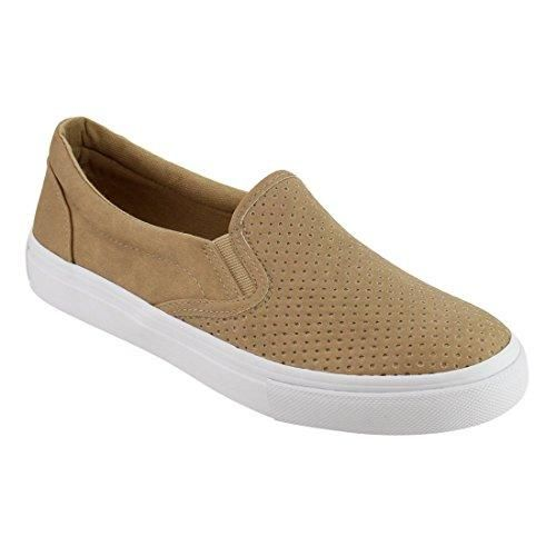 Soda Women's Perforated Slip On Elastic Panel Athletic Fashion Sneaker