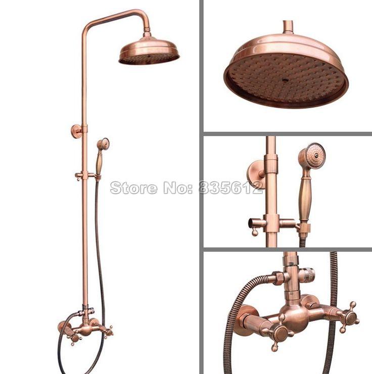 """Настенные ванная античная красной меди 8 """" для душа дождь душа установить / двойной ручки + ручной душ Wrg521 купить на AliExpress"""