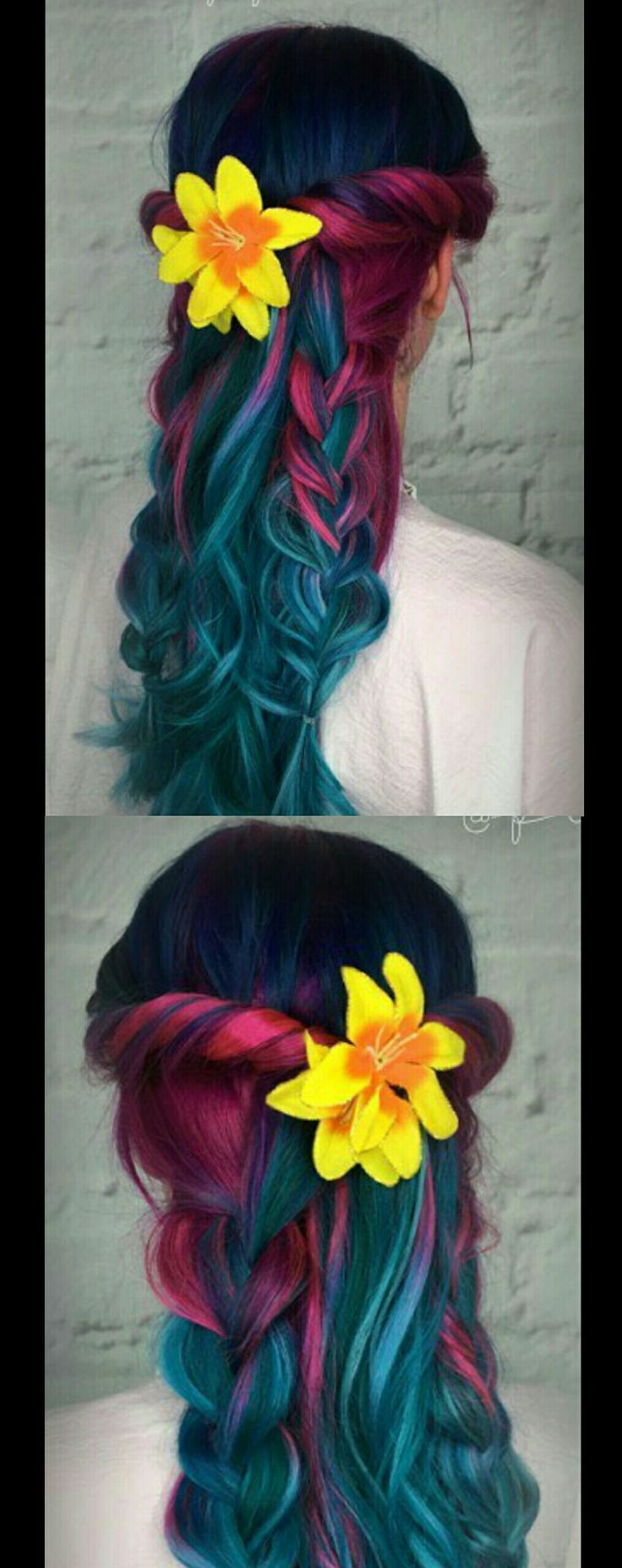 Pink turquoise braided dyed hair color @pinupjordan