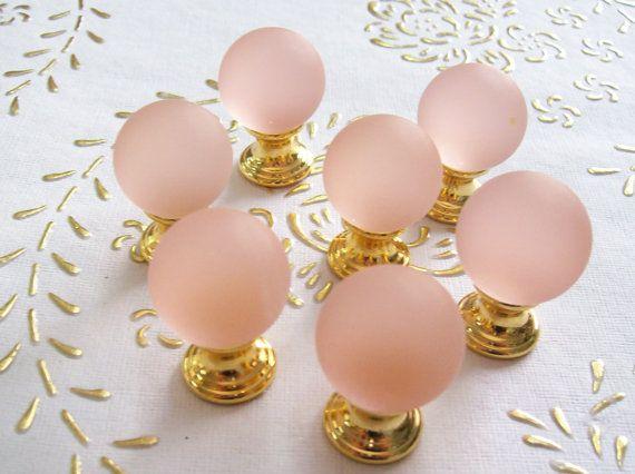 Manopole di Italia cristallo Satin Rosa in alta qualità. Base
