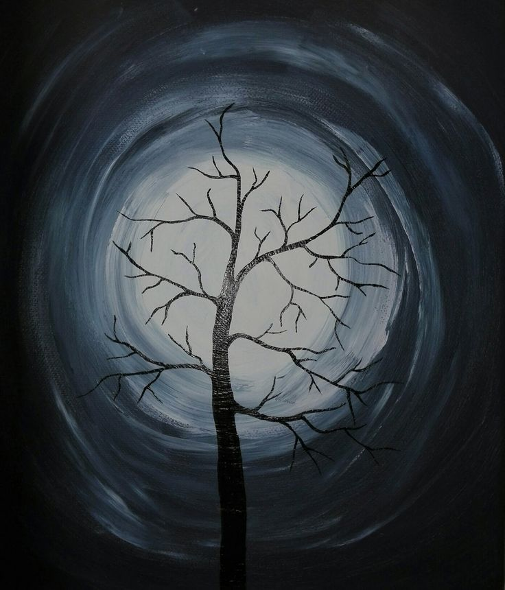 Painting tree and moon