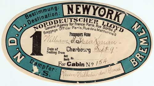 Sticker Luggage Tag - North German Lloyd - 1901 – http://www.gjenvick.com