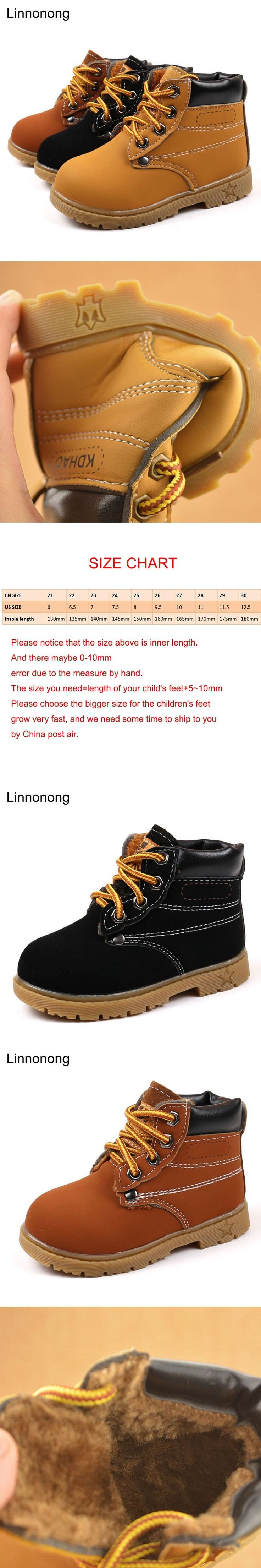 New Autumn Children Boots Yellow Shoes PU Leather Kids Martin Boots For Boys Toddler Girls Fashion Boots Winter Fur Snow Boots
