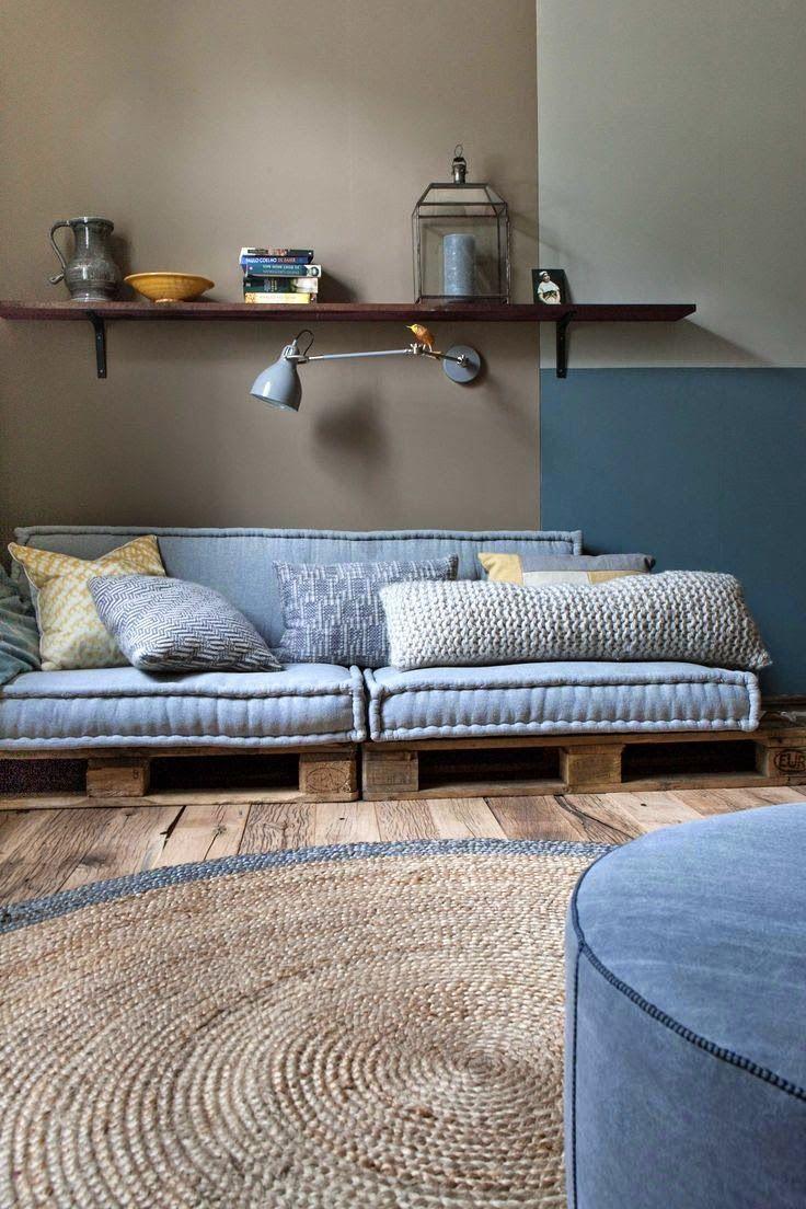 Combi jeans-blauw-hout