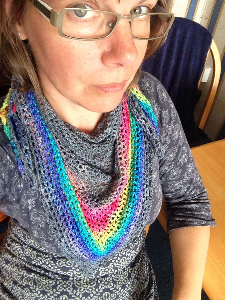 Rainbow grad hand dyed yarn from Cuddlebums whipped up into a roadtrip scarf.