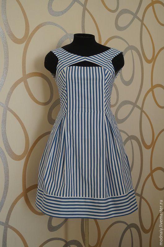 """Купить Платье """"мечты о море"""" - белый, в полоску, морская тема, короткое платье"""