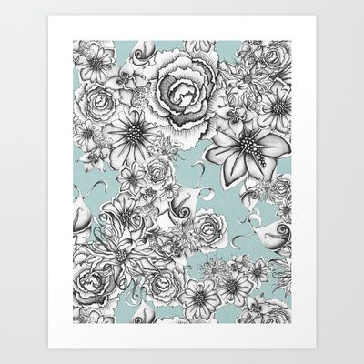 B&W Flowers Blue Art Print by Nora - $16.00