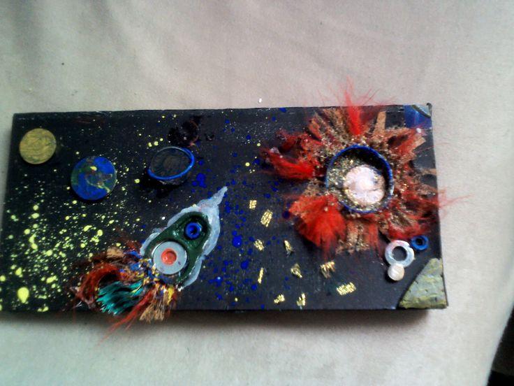 Reciclare creativa: ambalaj ciocolata, saibe, monede, resturi de plastic si sfori, surubele... gunoaie adunate de pe plaja...