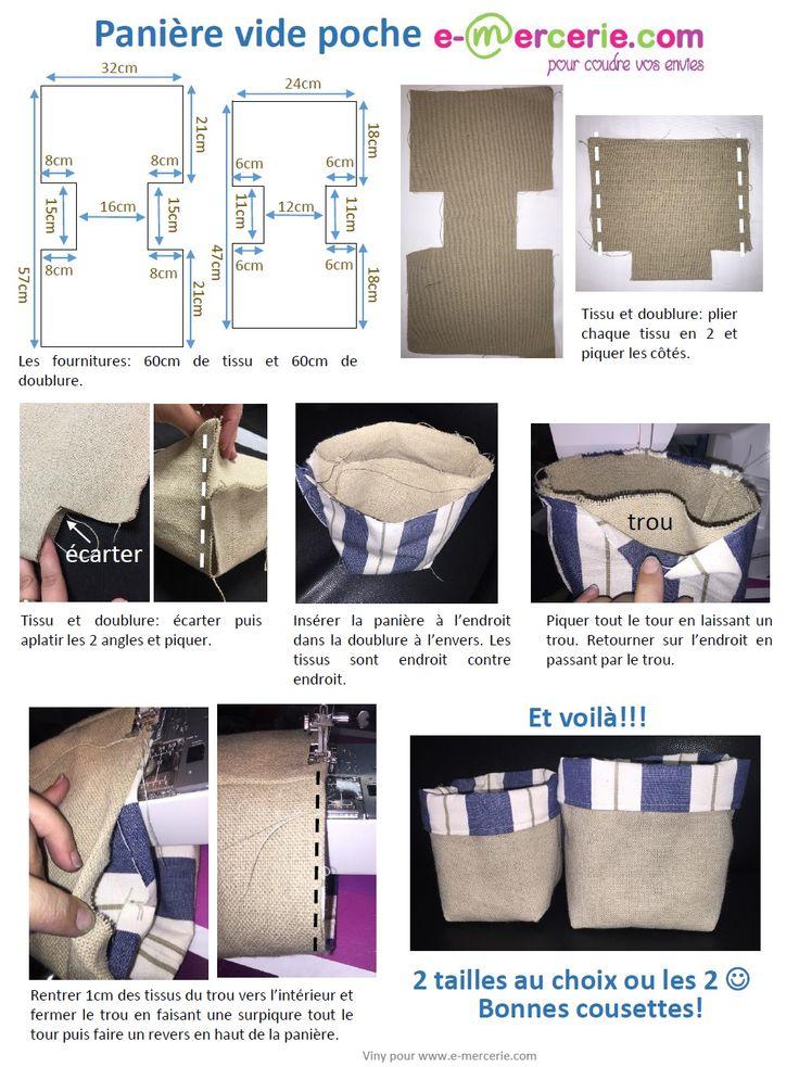 Voici un tuto simplifié au maximum avec le moins de coutures possibles pour réaliser rapidement des panières en tissu ou vide poche.
