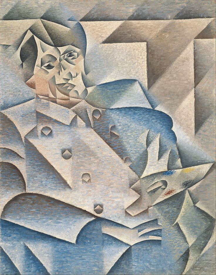 Bron : https://nl.wikipedia.org/wiki/Kubisme#/media/File:Juan_Gris_-_Portrait_of_Pablo_Picasso_-_Google_Art_Project.jpg Juan Gris, Portrait of Pablo Picasso 1912, 9,33 x 7,44 cm Art Institute of Chicago (geraadpleegd op 04-05-2016)(synthetisch kubisme)