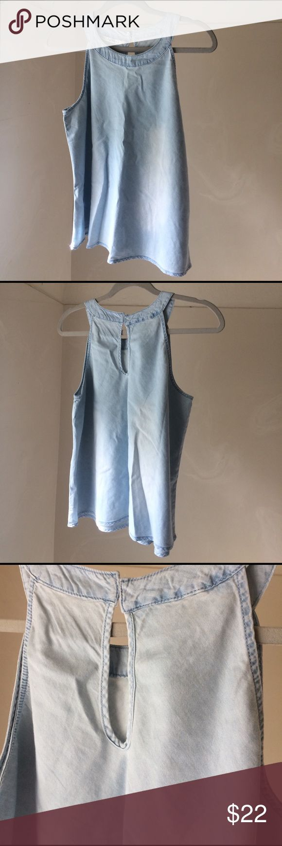 Chambray Halter Tank NWOT Cute chambray top. Light Blue. Size Large. Arm pit to arm pit 19 in. Length 23 inches. Keyhole back with 2 inside buttons. 100% cotton Vanilla Star Tops Tank Tops