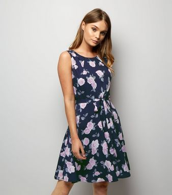 Mela Black Floral Print Tie Waist Skater Dress  | New Look