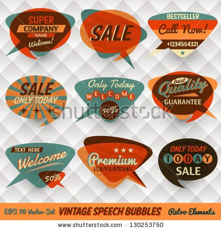Vintage Style Speech Bubbles Cards by Yummyphotos, via Shutterstock