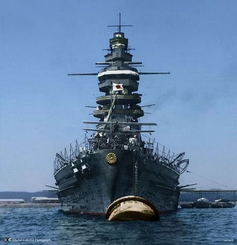 IJN Nagato - Nagato-class battleship - 42,850 tons - sunk as target at Bikini, 29 July 1946
