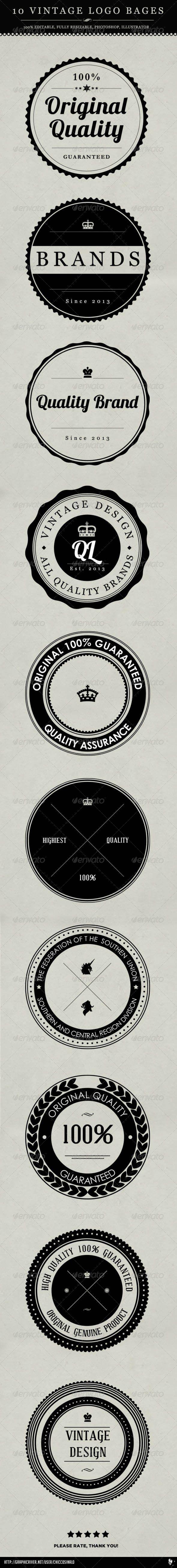 10 Vintage Logo Badges - GraphicRiver Item for Sale