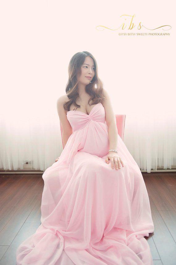 979201e9d4bbc Vanessa pink maternity dress, Maternity gown, Chiffon maternity dress, Baby  shower dress, Maternity wedding dress, wedding dress,bridesmaid