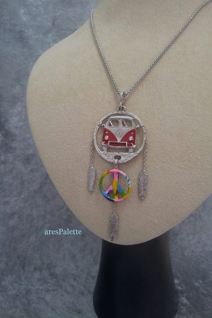 #vw #vwbus #vwt1 #necklaces #carjewelry #peace http://Volkswagen T 1 Bus Necklace-Peace Sign-925 Silver-Handmade