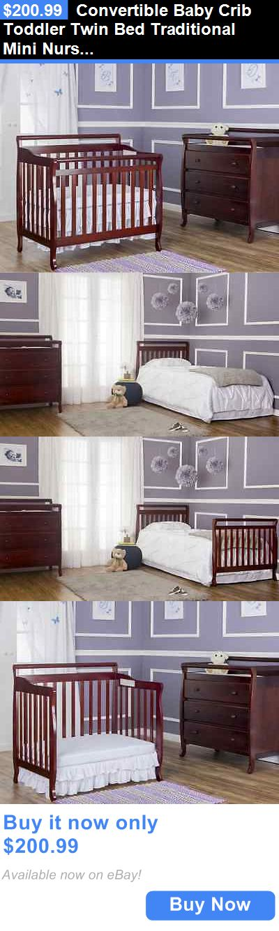 Baby Nursery: Convertible Baby Crib Toddler Twin Bed Traditional Mini Nursery Furniture 4-In-1 BUY IT NOW ONLY: $200.99