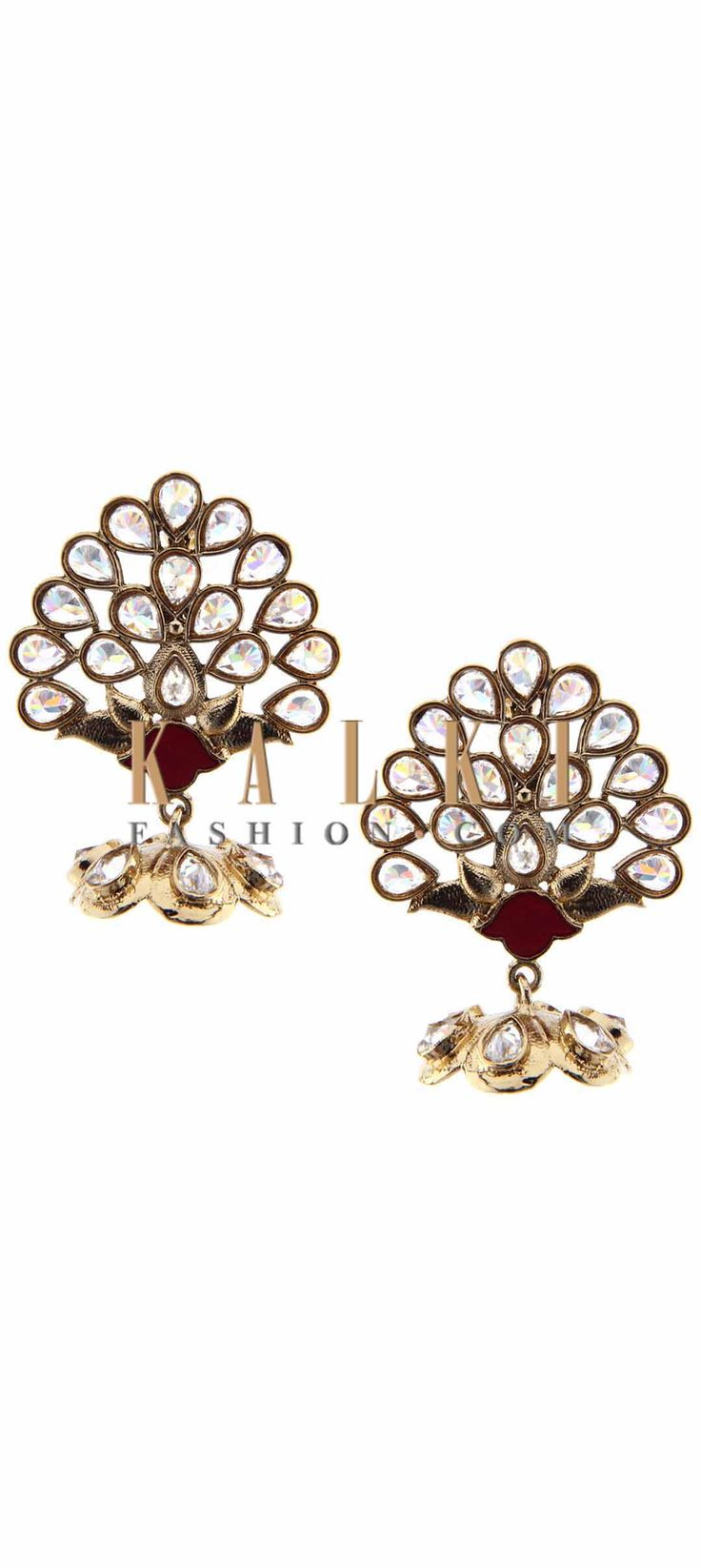 Buy Online from the link below. We ship worldwide (Free Shipping over US$100) Price-$49 Click Anywhere to Tag http://www.kalkifashion.com/kundan-embellished-earring-featuring-with-dangler-only-on-kalki.html