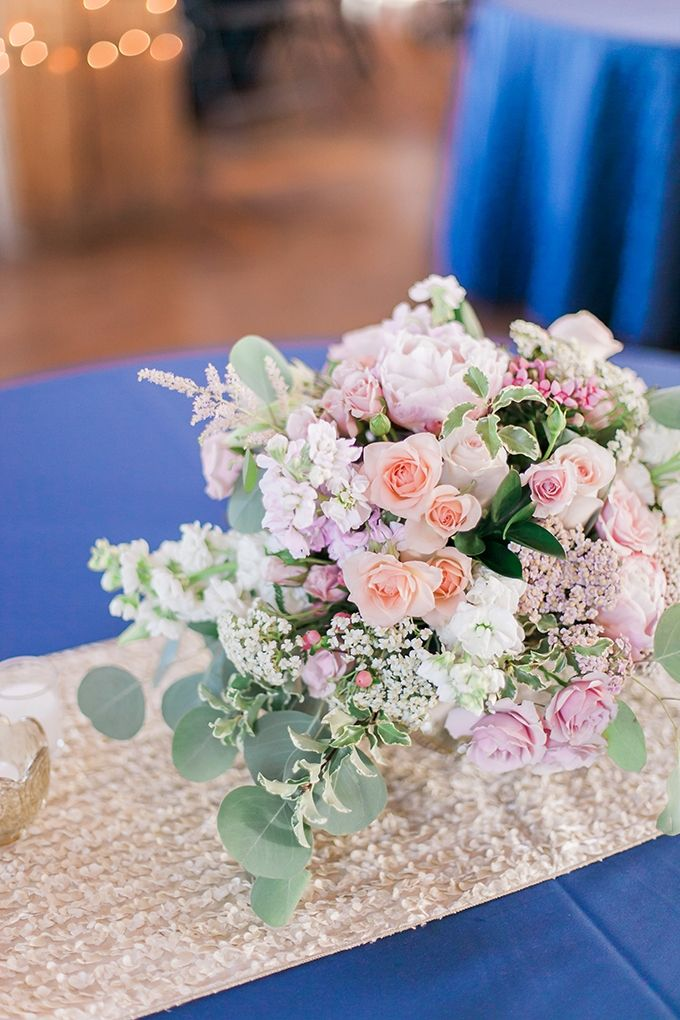 wedding centerpieces fake flowers%0A Navy  Gold and Pink Wedding at Studios at Overland Crossing  Floral  centerpeice with pink and navy  By Bella Lu Floral