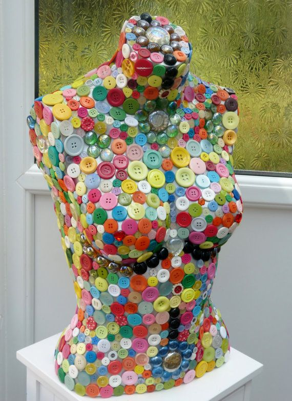 colourful button mosaic mannequin by MosaicsbyNigel on Etsy, £100.00