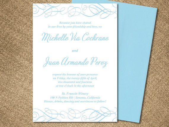 Whimsical Swirl Wedding Invite Microsoft Word Template Mint - microsoft word templates invitations