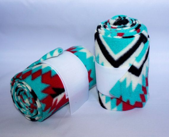 Horse Polo Wraps - Horse Accessories - Polo Wraps - Fleece - Horse Products - Leg Wraps - Aztec Print Wraps - Atztec Print - Polo Wraps