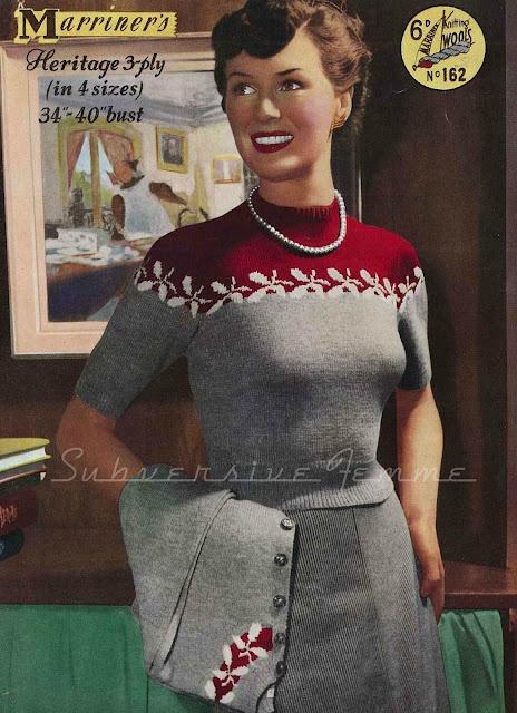 Fair-Isle Twin Set, c. late1940s: Curvy Month, Vintage Knitting, Knitting Patterns, Subversive Femme, Month Pattern, Fair Isle Twin, Vintage Pattern