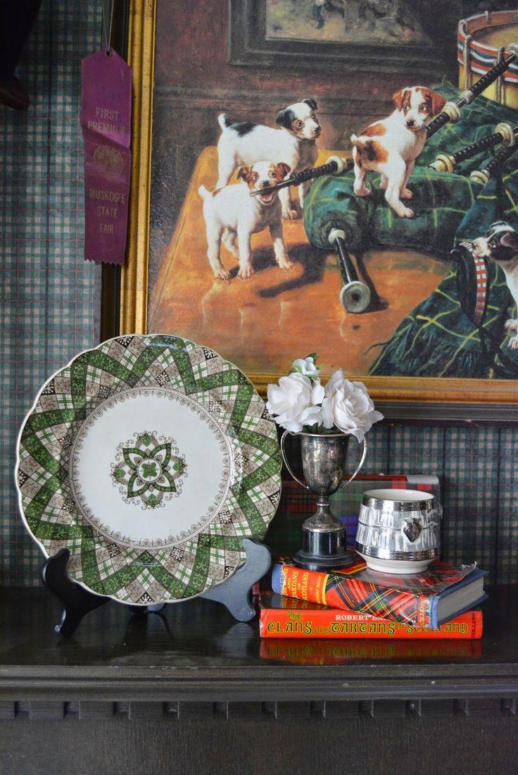 Nancy's Daily Dish: It's National Tartan Day! ~ Caledonian pattern ~ green enamel over brown transfer