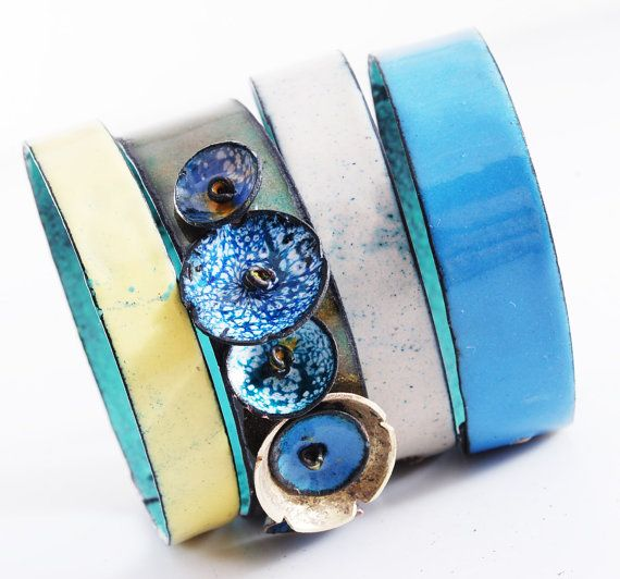 FORGET-ME-NOT  enameled bangles by OYRZANOWSKA on Etsy