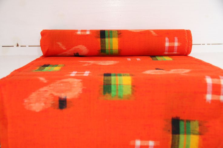 Make Kimono: Orange Kasuri Authentic Japanese Kimono Fabric Bolt by CJSTonbo on Etsy