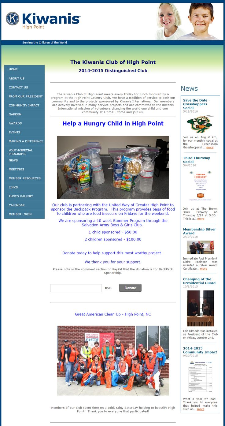HIGH POINT - The club highlights their recent activities not only through images but videos as well. Just take a look at their homepage. They also make it a point to promote their projects by featuring it on the site's homepage and adding the Donate button so that members and website visitors can easily provide assistance. Well done! http://kiwanishighpoint.org/