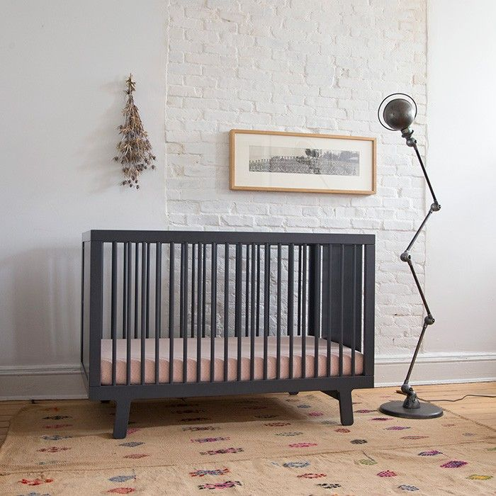 Oeuf Sparrow Crib limited edition in slate. modern cribs nursery baby