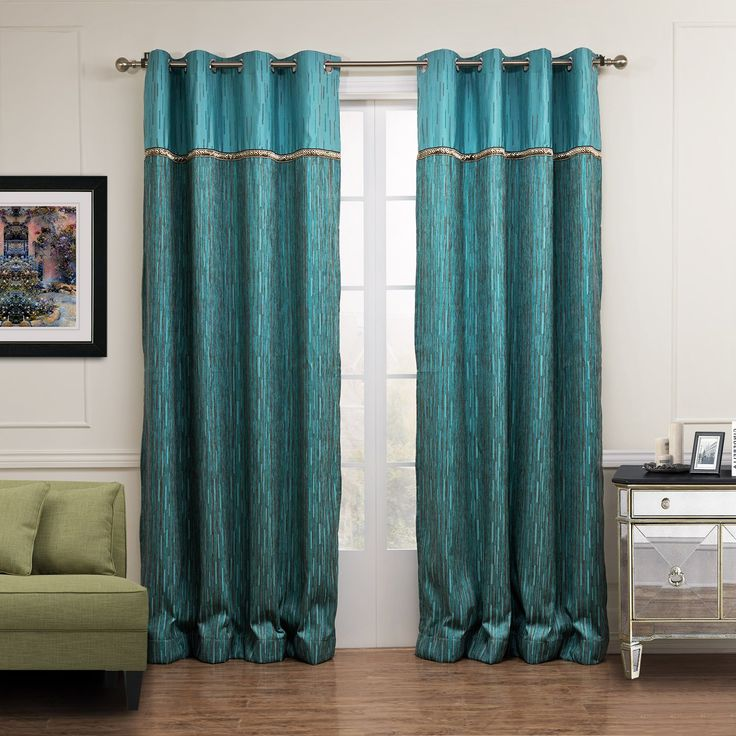 KoTing Home Fashion Polyester Cotton Dark Cyan and Brown Stripes Jacquard Thermal Insulated Blackout Lined Decorative Curtains Drapes Grommet Top,1 Panel,50 by 100-Inch