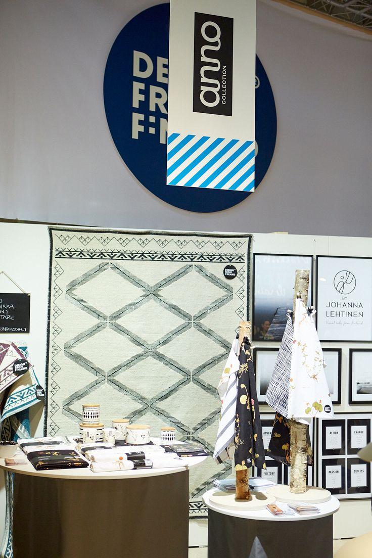Kodin1, Anno Habitare-messuilla Design from Finland -osastolla (7H68) 11.-14.9.2014. Jalpaikka-matto ja Apila-kuosin tuotteet. #habitare2014