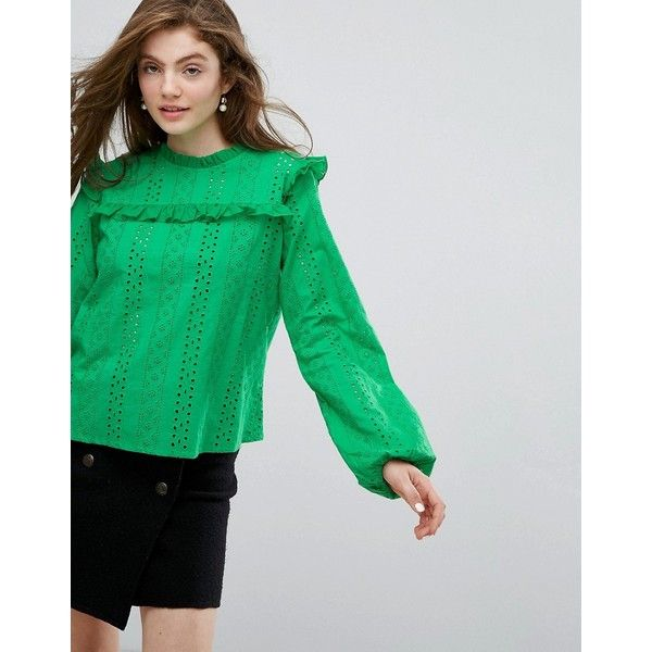 Willow and Paige Smock Top In Broderie Lace (120 ILS) ❤ liked on Polyvore featuring tops, green, embroidered top, green lace top, embroidery lace top, smock top and ruffle top