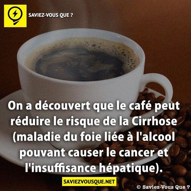 On a découvert que le café peut réduire le risque de la cirrhose (maladie du foie liée à l'alcool pouvant causer le cancer et l'insuffisance hépatique). | Saviez Vous Que?