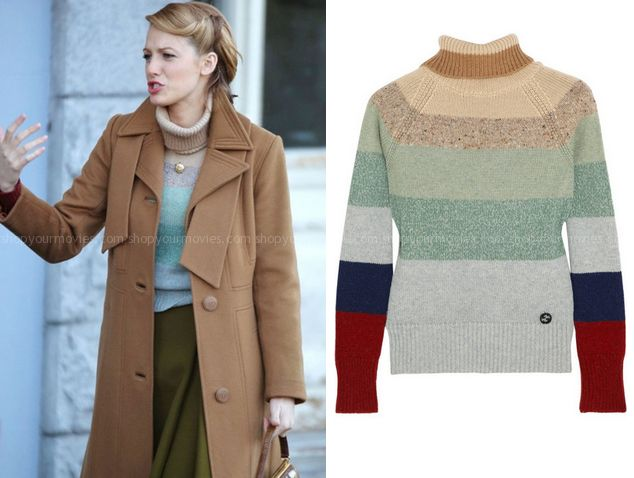 Adaline Bowman (Blake Lively) wears this multi colored striped turtle neck sweater in this week's episode of The Age of Adaline. It is the Gucci Striped camel hair, cashmere and wool-blend turtleneck sweater. Buy it HERE