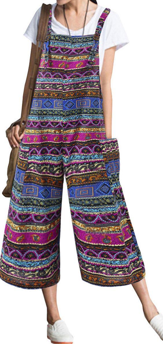 d8fb37e6217 Ethnic Bohemian Strap Pockets Loose Jumpsuits  Jumpsuits  overalls ...
