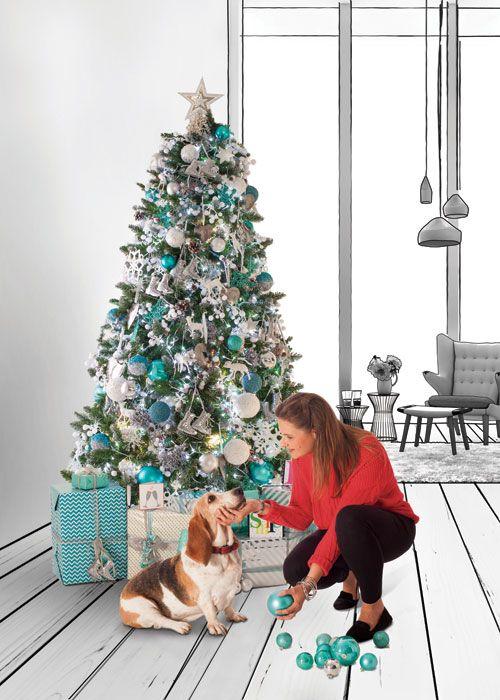 adorna tu rbol de navidad en colores plata y turquesa encuentra todo lo que necesitas