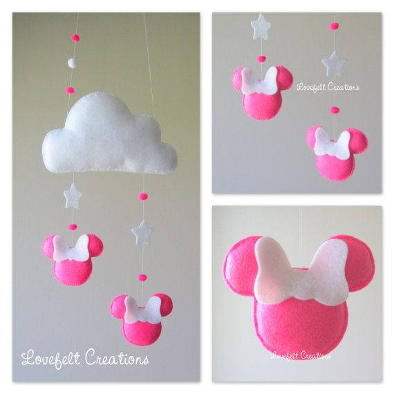 Baby mobile  Cloud mobile  Minnie mobile   Pink by LoveFeltXoXo