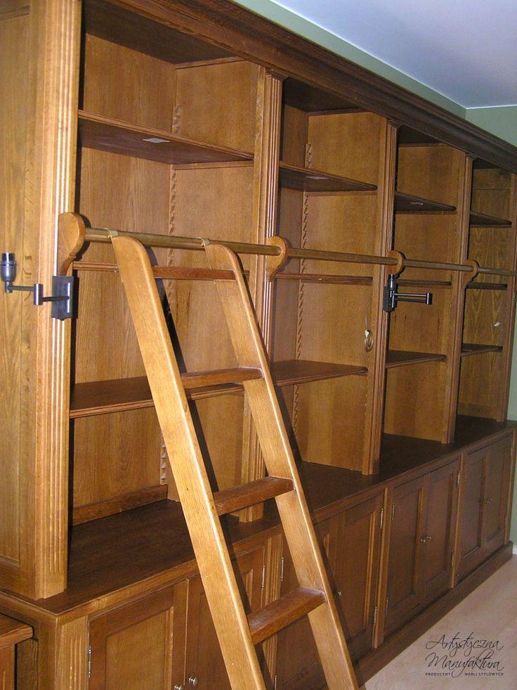 biblioteka klasyczna dębowa, wooden furniture, traditional home bookcases cabinets, library, home office   - wykonanie Artystyczna Manufaktura