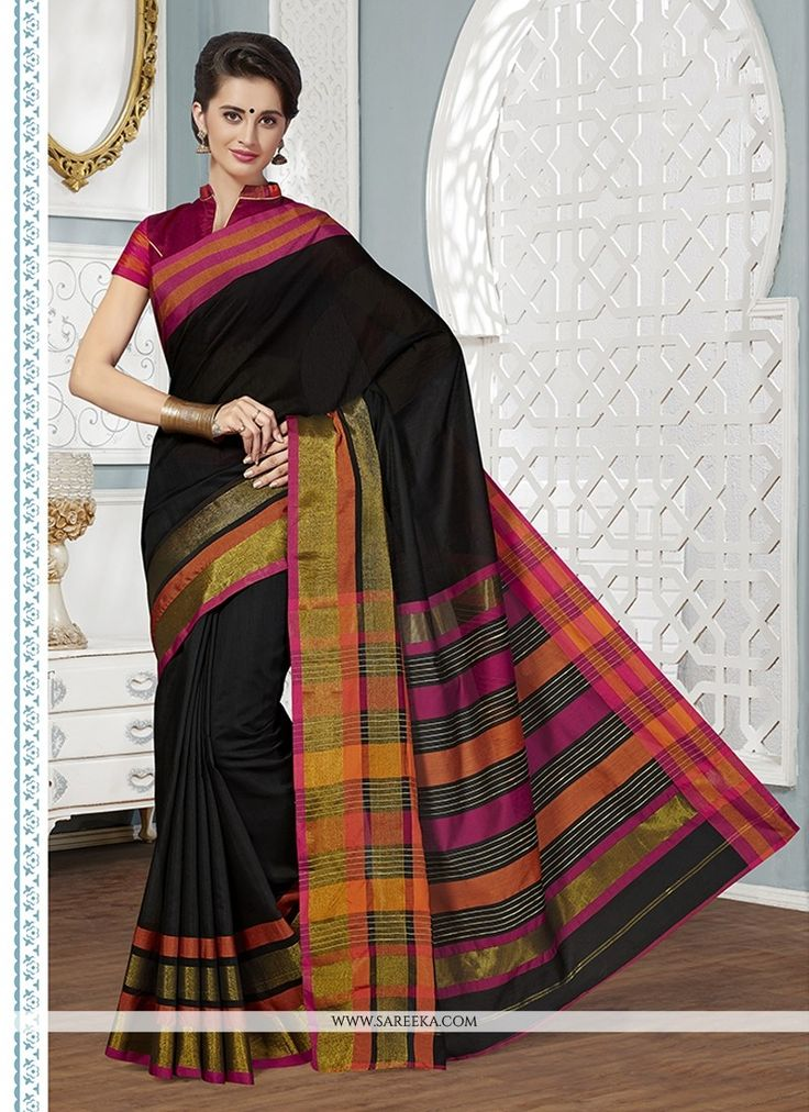 If you are a diva who loves to turn heads wherever you go and this delightful drape is a must have item for your closet. Get the simplicity and grace with this black cotton   casual saree. This lovely...
