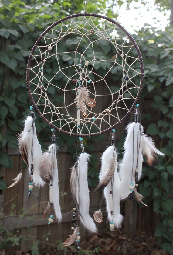 Dreamcatcher with feathers and gemstone chips