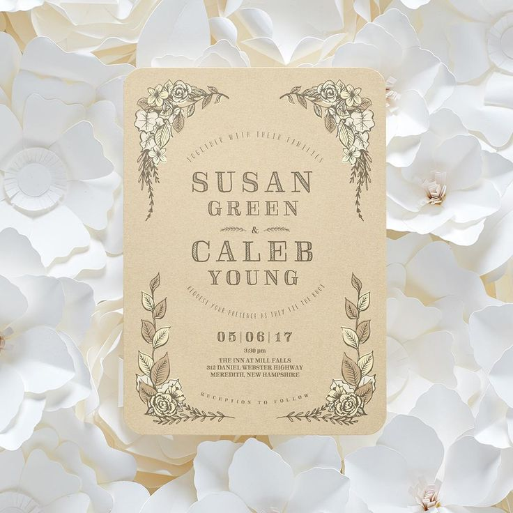 sending wedding invitations months before%0A Rustic Affair  Signature White Wedding Invitations with Square Corners