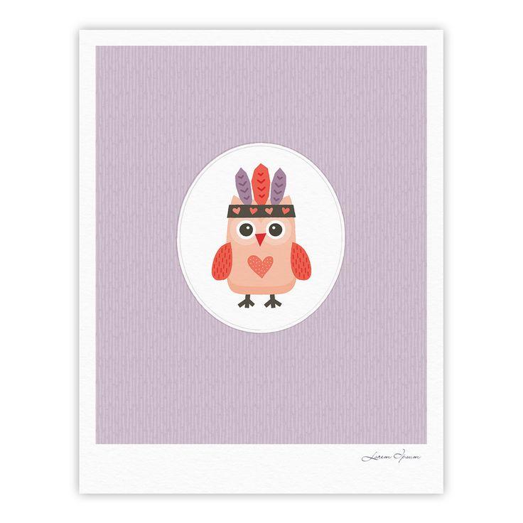 "Daisy Beatrice ""Hipster Owlet"" Purple Fine Art Gallery Print from KESS InHouse"